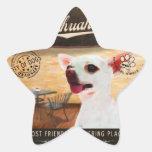 Chihuahua del café calcomania forma de estrella personalizada