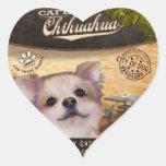 Chihuahua del café calcomania corazon personalizadas
