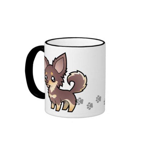 Chihuahua del dibujo animado (capa larga) taza a dos colores