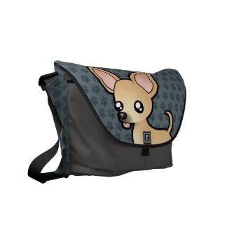 Chihuahua del dibujo animado (capa lisa) bolsa de mensajeria