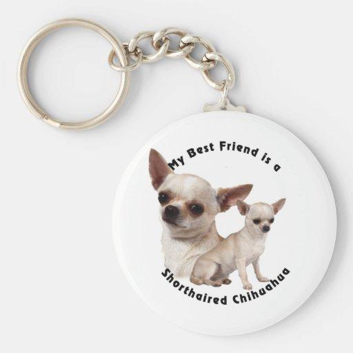 Chihuahua del mejor amigo de pelo corto llavero redondo tipo pin