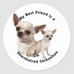 Chihuahua del mejor amigo de pelo corto pegatina redonda