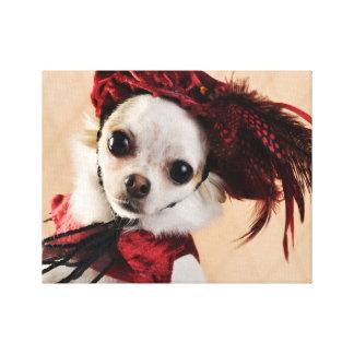 Chihuahua del renacimiento en terciopelo rojo impresión en lienzo estirada