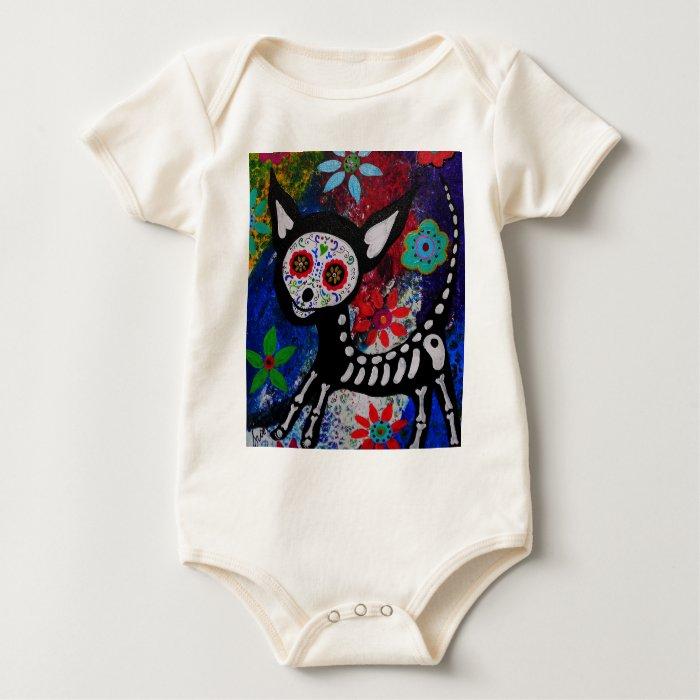 Chihuahua Dia De los Muertos by Prisarts Baby Bodysuit