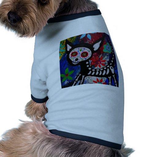 Chihuahua Dia De los Muertos by Prisarts Dog Tee