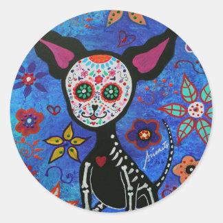 Chihuahua Dia de los Muertos Pegatina Redonda