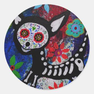 Chihuahua Dia De los Muertos por Prisarts Pegatina Redonda