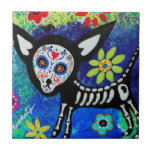 Chihuahua Dia de Los Muertos Tiles por los prisart Azulejo Cuadrado Pequeño
