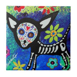 Chihuahua Dia de los Muertos Tiles por Prisarts Azulejo Cuadrado Pequeño
