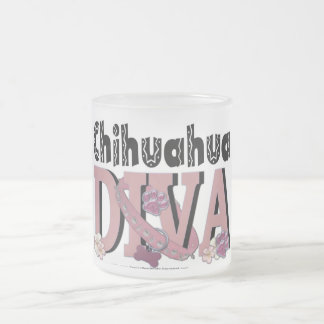 Chihuahua DIVA Frosted Glass Coffee Mug