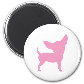 Chihuahua divertida rosada imán redondo 5 cm