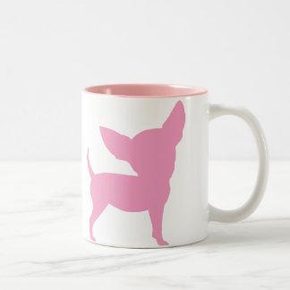 Chihuahua divertida rosada taza de café de dos colores