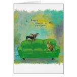 Chihuahua dog and cat on sofa fun original art card