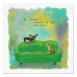 "Chihuahua dog and cat on sofa fun original art 5.25"" square invitation card"