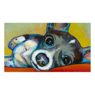 Chihuahua dog art - adorable fun portrait painting business card template