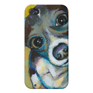 Chihuahua dog art - adorable fun portrait painting iPhone 4 case