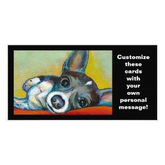 Chihuahua dog art - adorable fun portrait painting photo card
