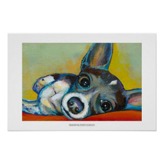 Chihuahua dog art - adorable fun portrait painting print