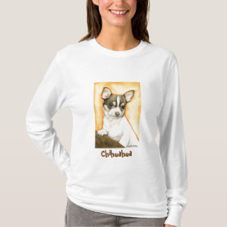 """ Chihuahua"" Dog Art Ladies Lond Sleeve Shirt"