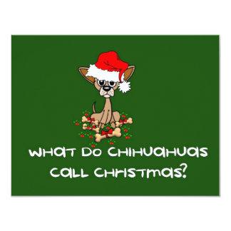 "Chihuahua Dog Christmas 4.25"" X 5.5"" Invitation Card"