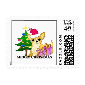Chihuahua Dog Christmas Stamp