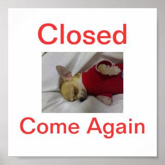 Chihuahua Dog Closed Sign Sleeping Poster