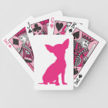 Chihuahua dog cute beautiful pink silhouette bicycle playing cards