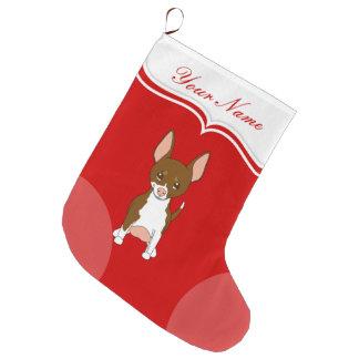 Chihuahua Dog Cute Cartoon Brown White Name Large Christmas Stocking
