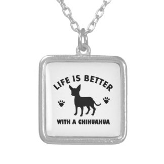 chihuahua dog design silver plated necklace