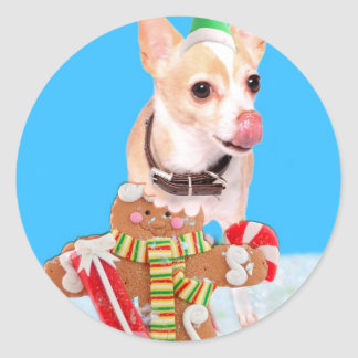 chihuahua dog eating gingerbread man classic round sticker