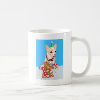 chihuahua dog eating gingerbread man coffee mug