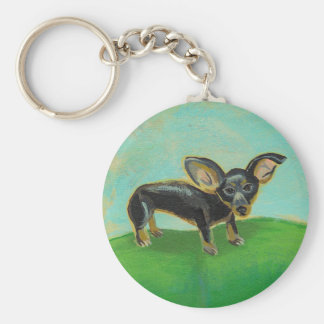 Chihuahua dog from original painting pets on sofa basic round button keychain