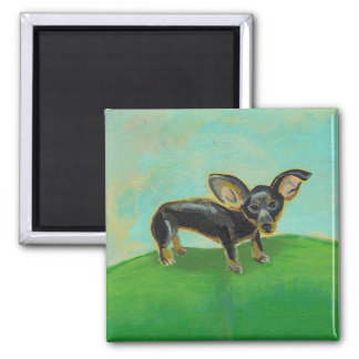 Chihuahua dog from original painting pets on sofa 2 inch square magnet