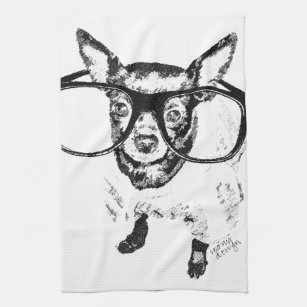 Chihuahua Dog Illustration Drawing Hand Towel
