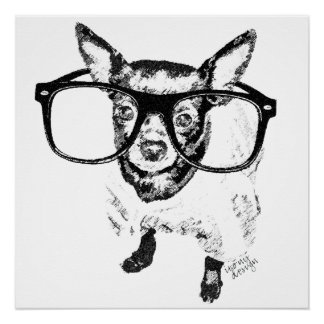 Chihuahua Dog Illustration Drawing Poster