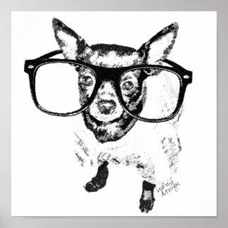 Chihuahua Dog Illustration Drawing Poster