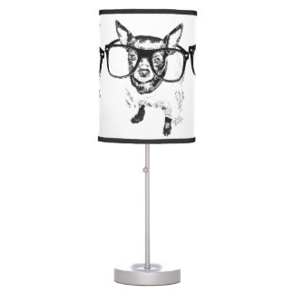 Chihuahua Dog Illustration Drawing Table Lamp