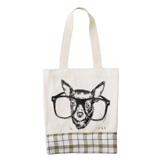 Chihuahua Dog Illustration Drawing Zazzle HEART Tote Bag