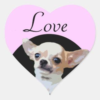 Chihuahua Dog love heart stickers