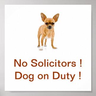 Chihuahua Dog No Solicitors Sign Dog on Duty