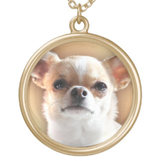 Chihuahua Dog Portrait Gold Plated Necklace