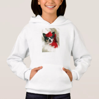 Chihuahua Dog Red Hat and Scarf Hoodie