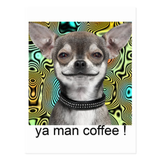 Chihuahua Dog Smiling for Coffee Postcard