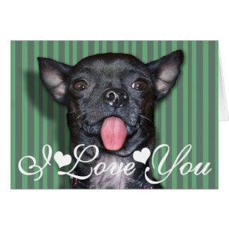 Chihuahua Dog Tongue I Love You Card