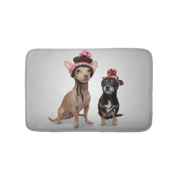 ironydesignphotos Chihuahua Dogs With Hats Photo Bathroom Mat