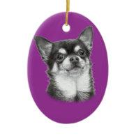 Chihuahua Drawing Christmas Ornament