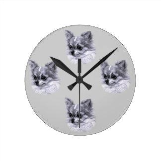 Chihuahua Drawing Round Clocks