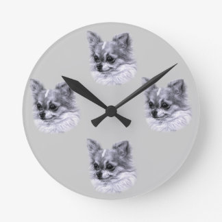 Chihuahua Drawing Round Clock