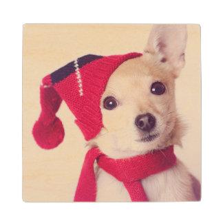 Chihuahua en casquillo del invierno posavasos de madera