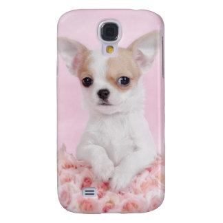 Chihuahua en rosa con los rosas funda para galaxy s4